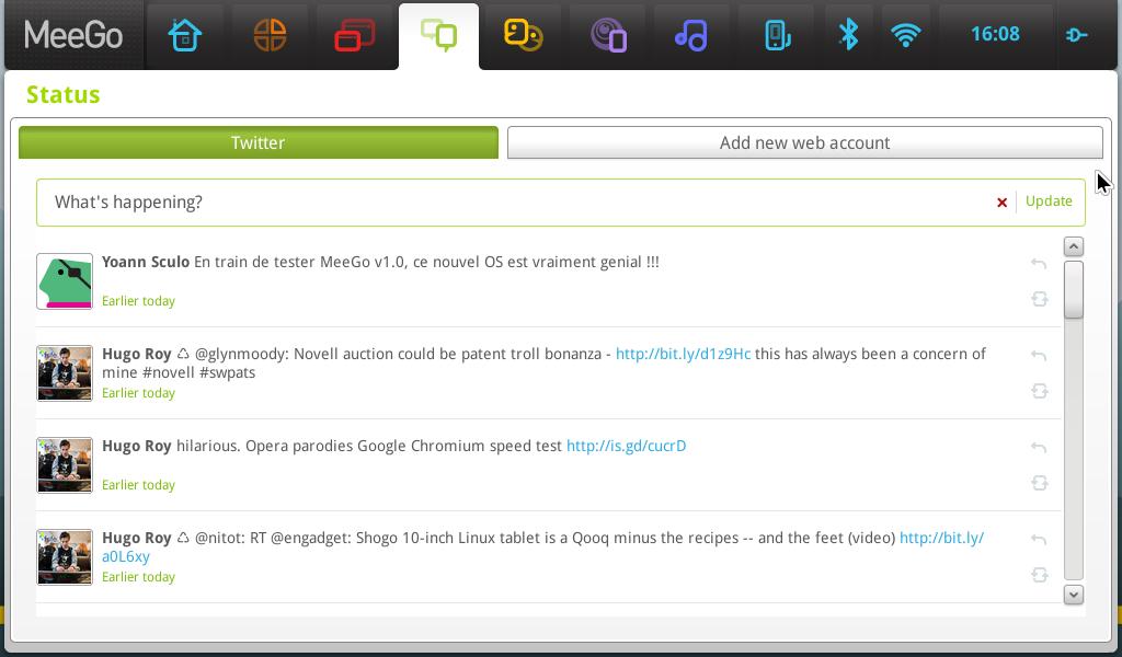 """L'interface """"réseaux sociaux"""" de MeeGo"""